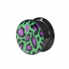 Acrylic Ear Plug Leopard Big Green