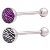 Flat Tongue Barbell Animal Print Zebra