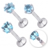 Labret With Prong Set Blue Circonia Mixed Shapes