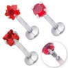 Labret With Prong Set Red Circonia Mixed Shapes