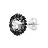 Silver Stud MultiCrystal and Circonia Round Black