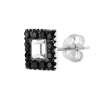 Silver Stud Multicrystal and Circonia Square Black