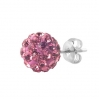 Silver Stud Multicrystal Color Ball Pink