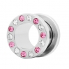 Stainless Steel Flesh Tunnel with Crystal Gems
