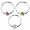 Stainless Steel Piercing BCR Gem Colors
