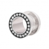 Stainless Steel Flesh Tunnel Edge Beads Silvery