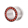 Stainless Steel Flesh Tunnel Edge Beads Red