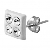 Sterling Silver Square White Stud with 4 Gems