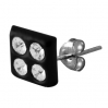 Sterling Silver Square Black Stud with 4 Gems