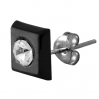 Sterling Silver Square Black Stud with Zirconia