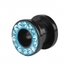 UV Acrylic Flesh Tunnel Multicrystal Edge Blue